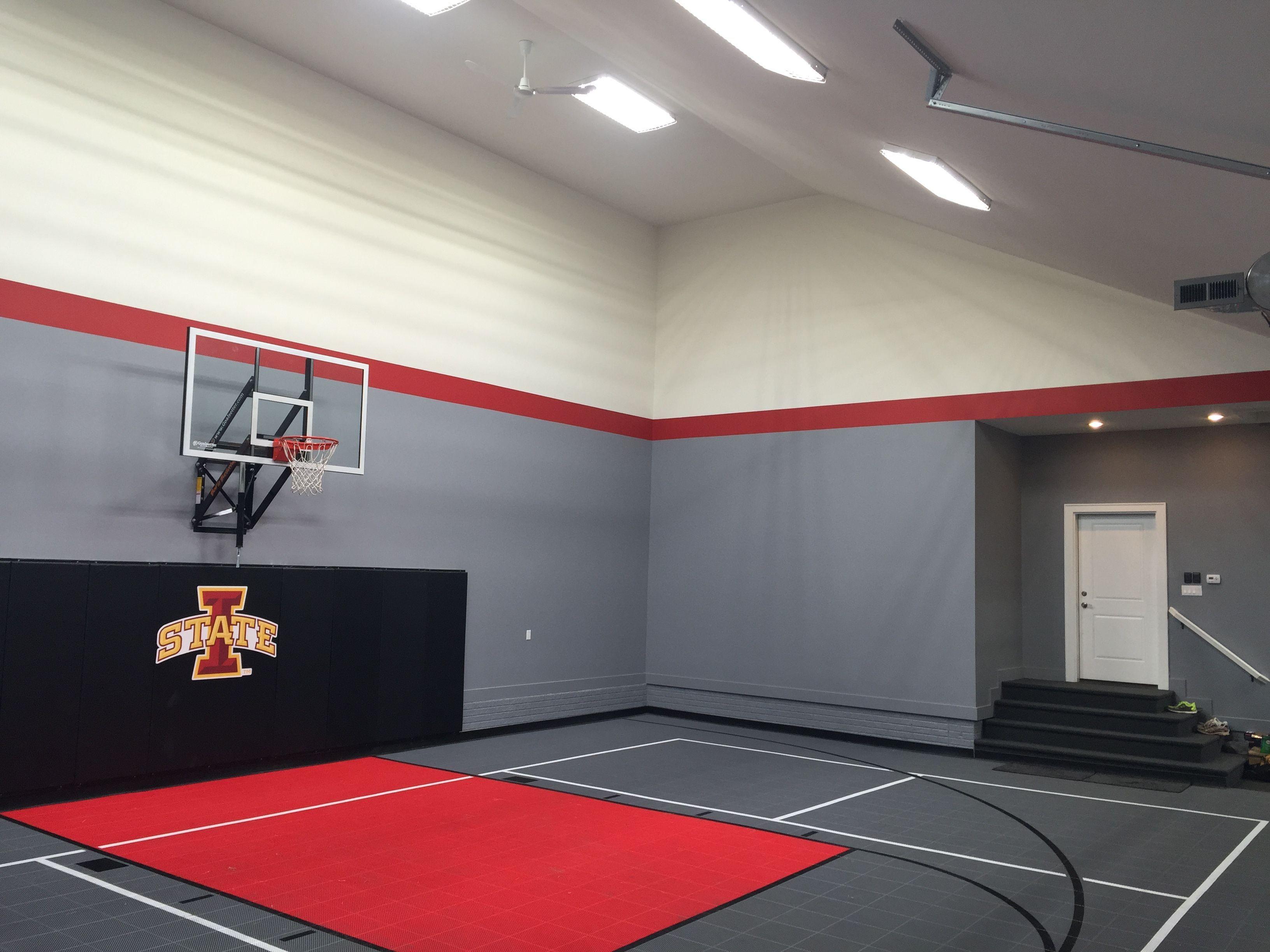 Garage Court Garage Gym Sport Court In 2019 Home Home Basketball Court Indoor Sports Court Garage Gym