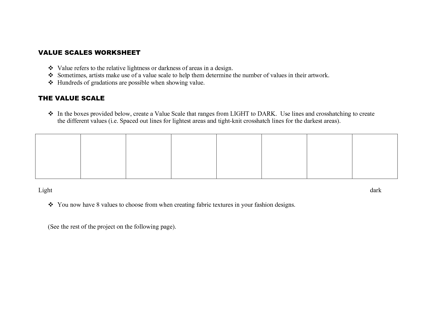 worksheet Value Scale Worksheet scale worksheet value pinterest worksheets art handouts and worksheet
