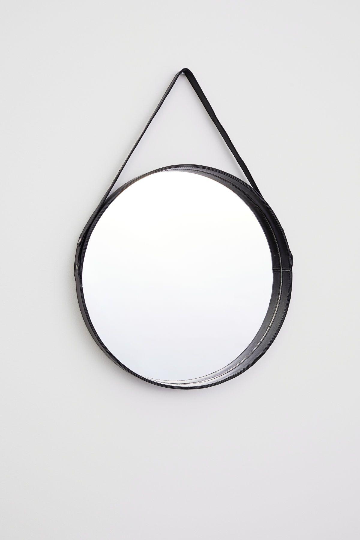 Hallway mirror kmart  Schwarz Großer runder Spiegel mit Rahmen und ledernem Aufhänger