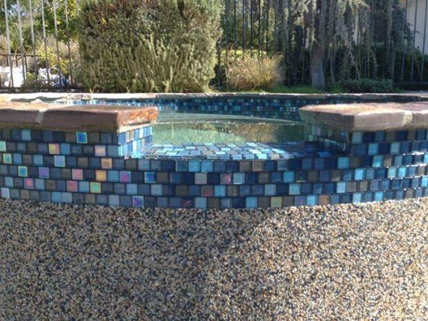 Remodel Spa Tahoe Blue Stonescapes Tile Jules Rustic Blue Blend Cal West Pool Plaster Pool Plaster Swimming Pool Remodeling Pool