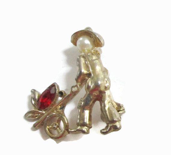 Coro Brooch, Vintage Rhinestone, Pearl Lapel Pin,  Asian Rickshaw, Ruby, Signed Mid Century Jewelry, 1940s-1950s, Gold Tone. Petite