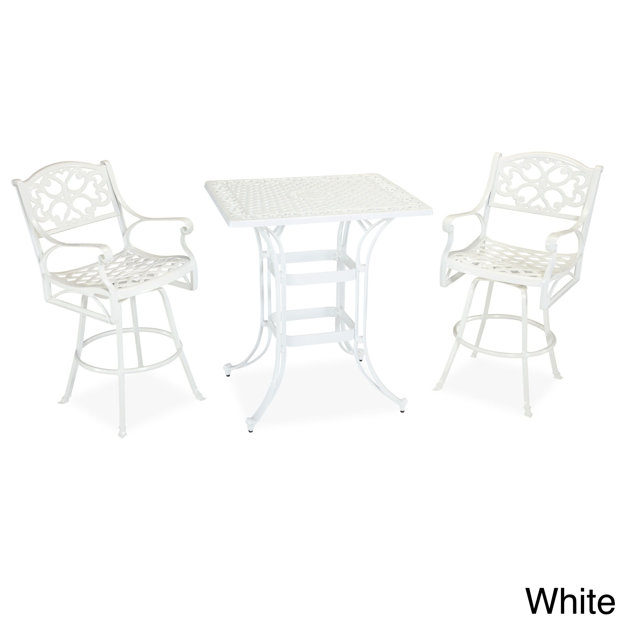 Dine under the stars with this lovely white three-piece bistro set. This ensemble seats two, so you and a guest can linger over after-dinner conversation and contemplate your garden. Sturdy construction and UV protection ensure long-lasting use.