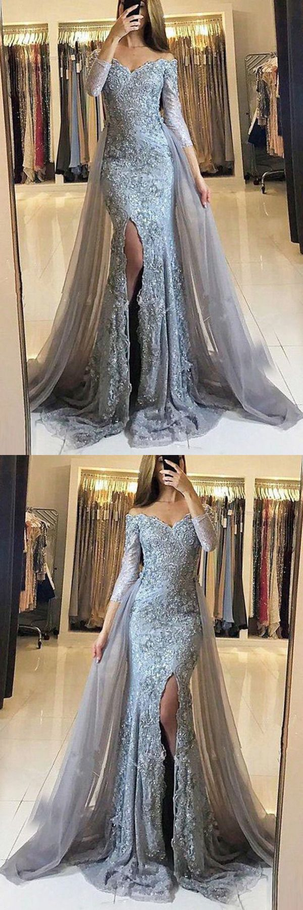 2019 Long Sleeves Off The Shoulder Tulle With Applique ...