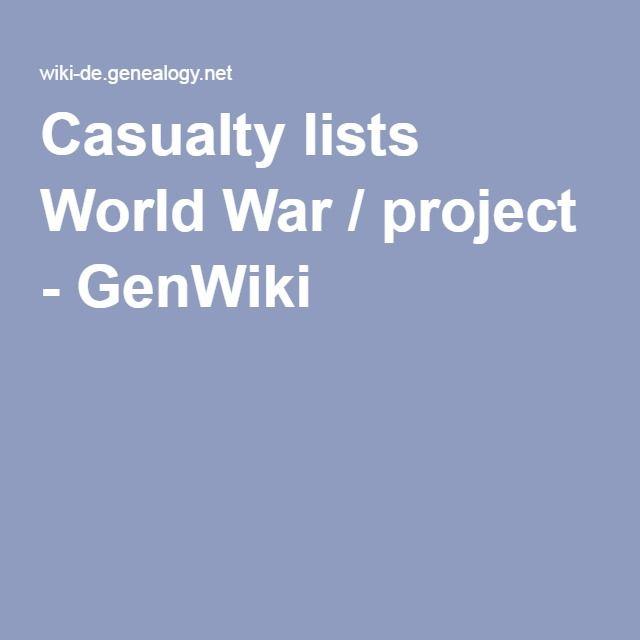 Casualty lists World War / project - GenWiki