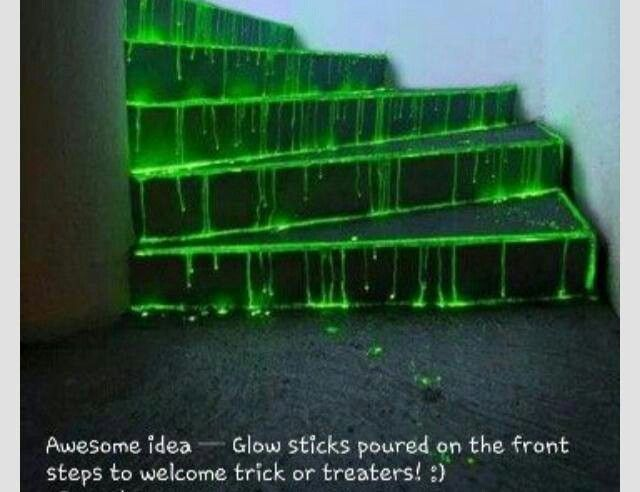 Glowsticks poured on steps!