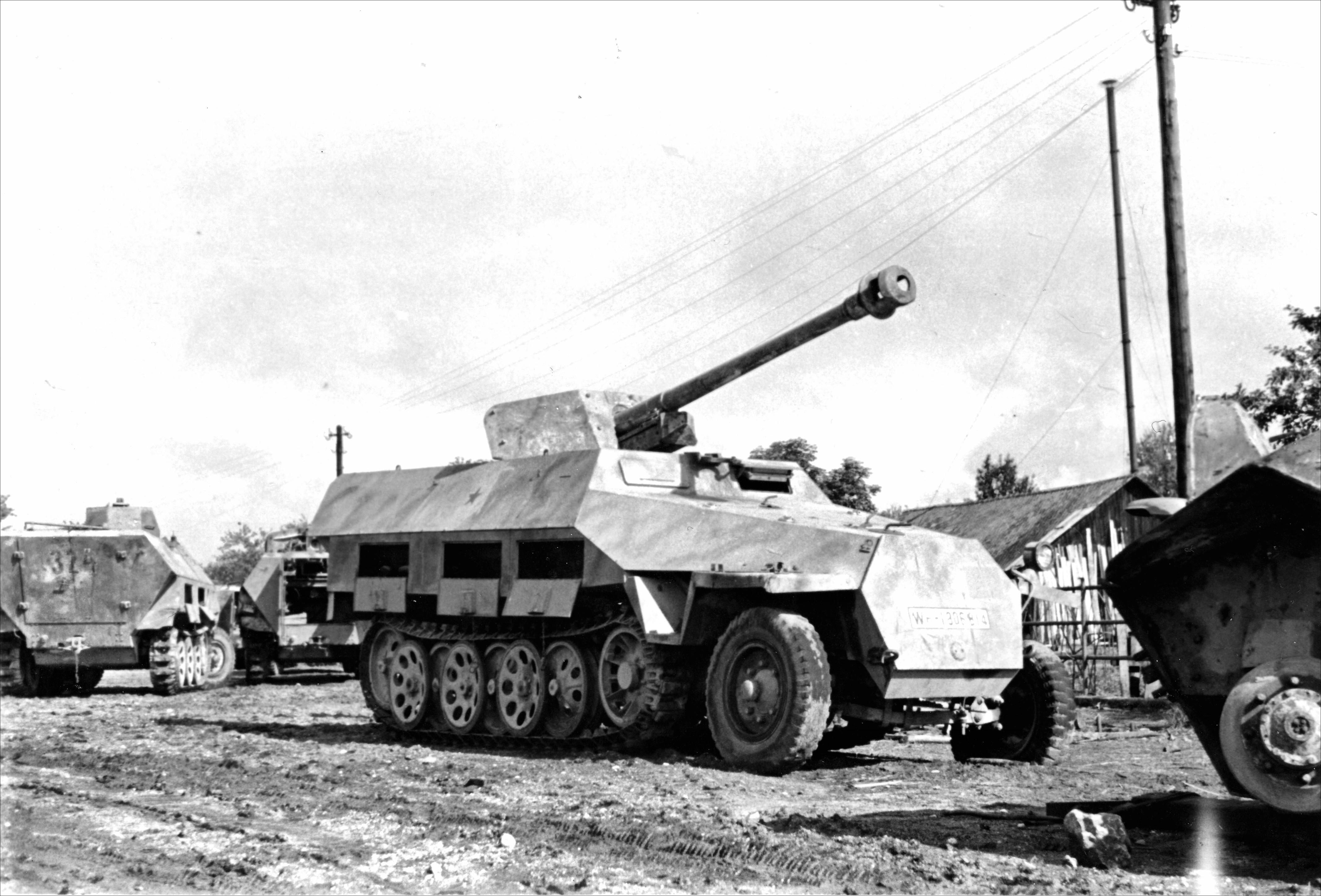 German 50 Mm Anti Tank Gun: Sd.Kfz. 251/22 Armored Halftrack, It Has Been Armed With