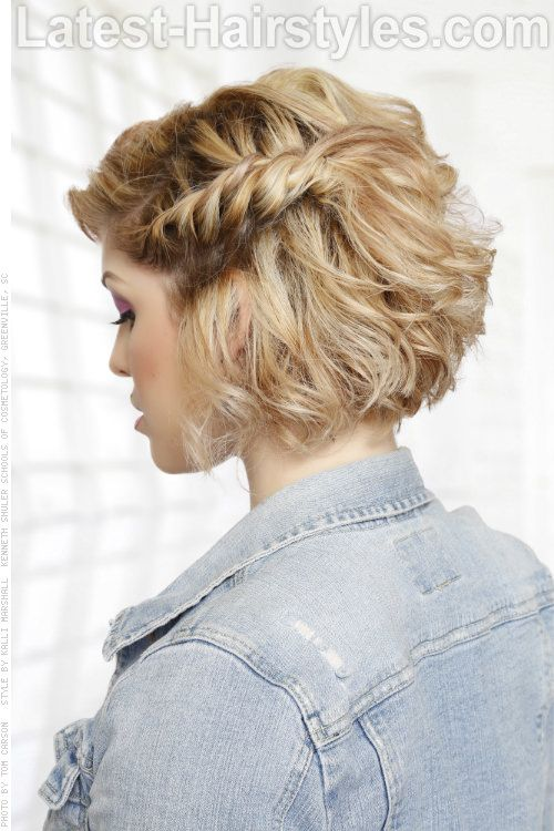 Short Fun Curly Hairstyle Side View French Braid