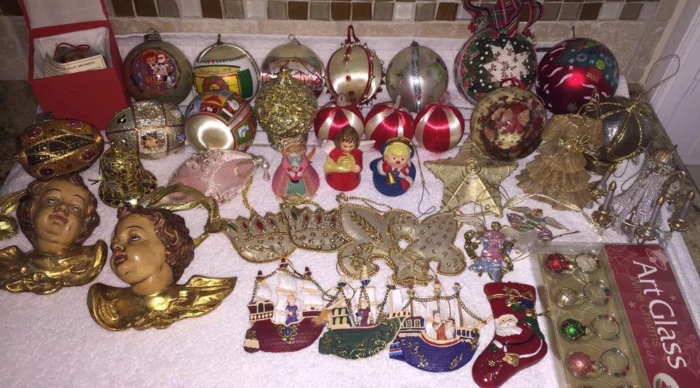 LARGE LOT OF VINTAGE CHRISTMAS ORNAMENTS-CUSTOM BILL YEE ,ANGELS, BELLS,& MORE!
