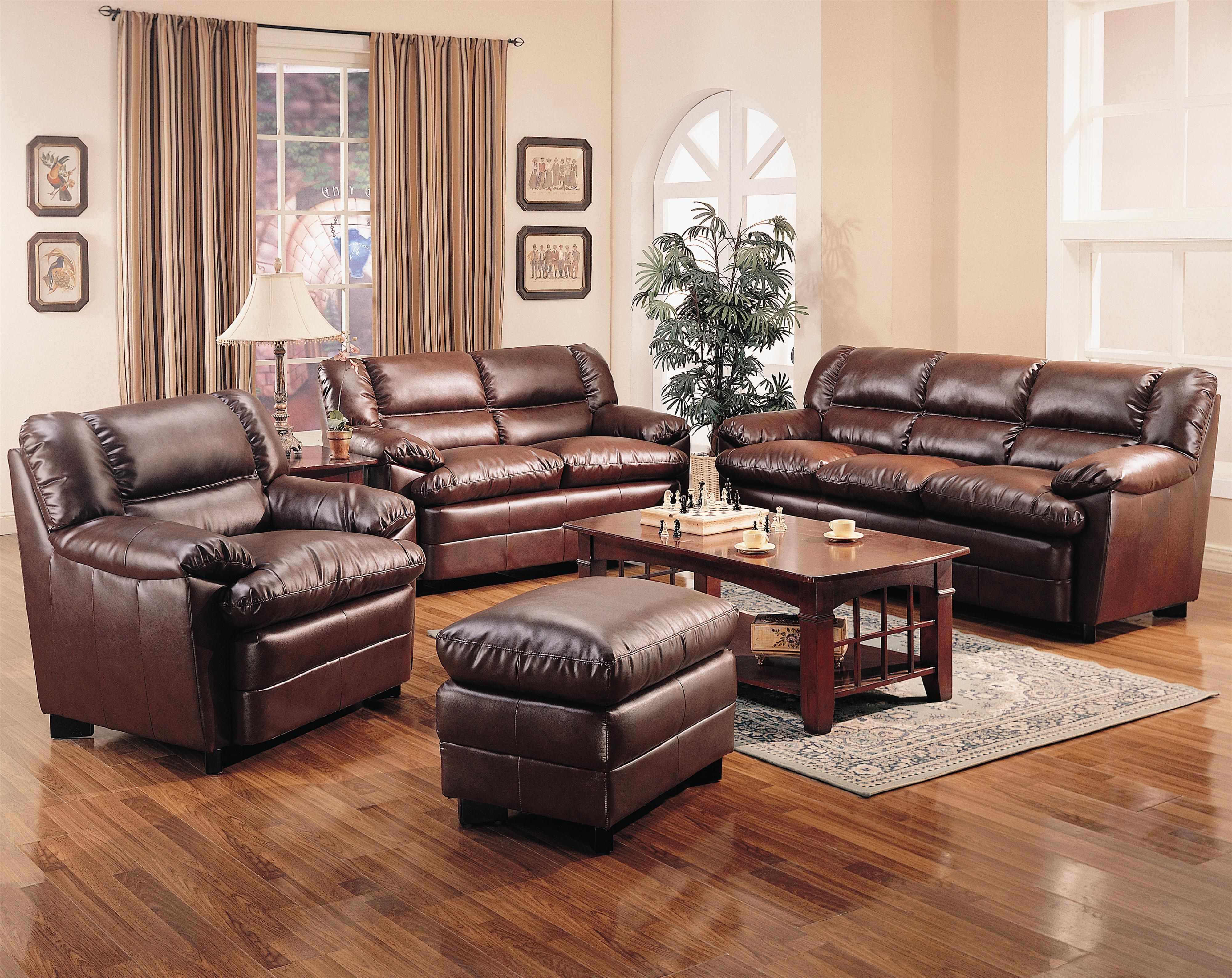 501911Set - Harper Overstuffed Leather Sofa with Pillow Arms ...