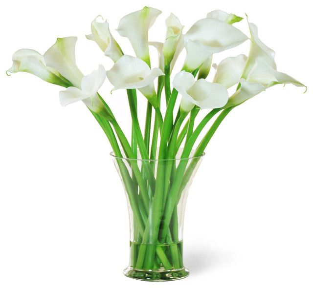 Panda flowers has been in operation since 1997 and is an award calla lily in glass white flower arrangement traditional artificial flowers mightylinksfo