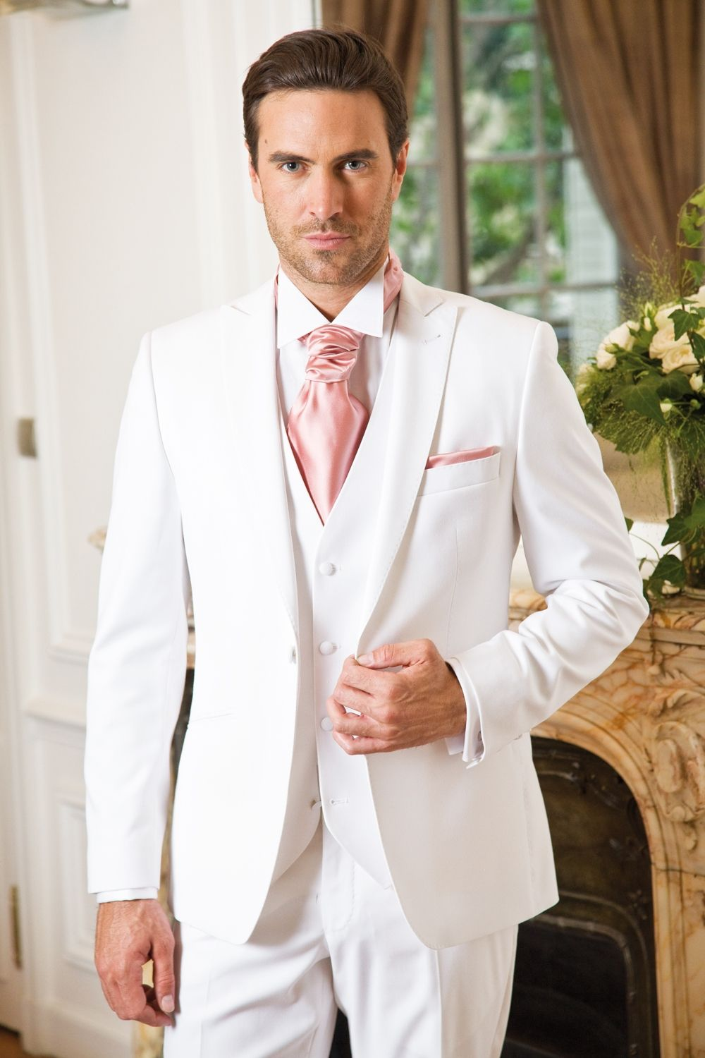 mens Tie with white suit | Dress To Kill | Pinterest | Pink, Suits ...