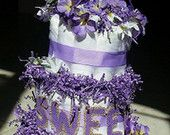 Upscale  Diaper Cake for baby shower, 3 tier lavender @ https://www.etsy.com/shop/KiddozSupply