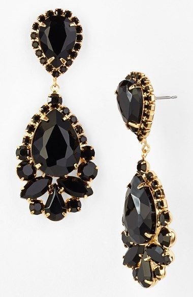 Black and gold tear drop stone earrings wedding gold goldblack