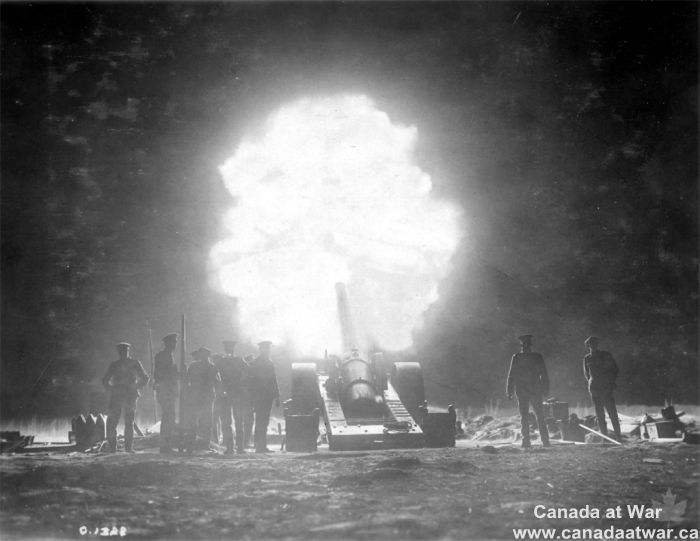 Artillery Support - In this striking nighttime photograph taken behind Canadian lines at Vimy Ridge, a British naval gun fires in support of the Canadian attack. Approximately 1,000 Allied guns and mortars pounded the ridge prior to the assault, a period called by the German defenders the