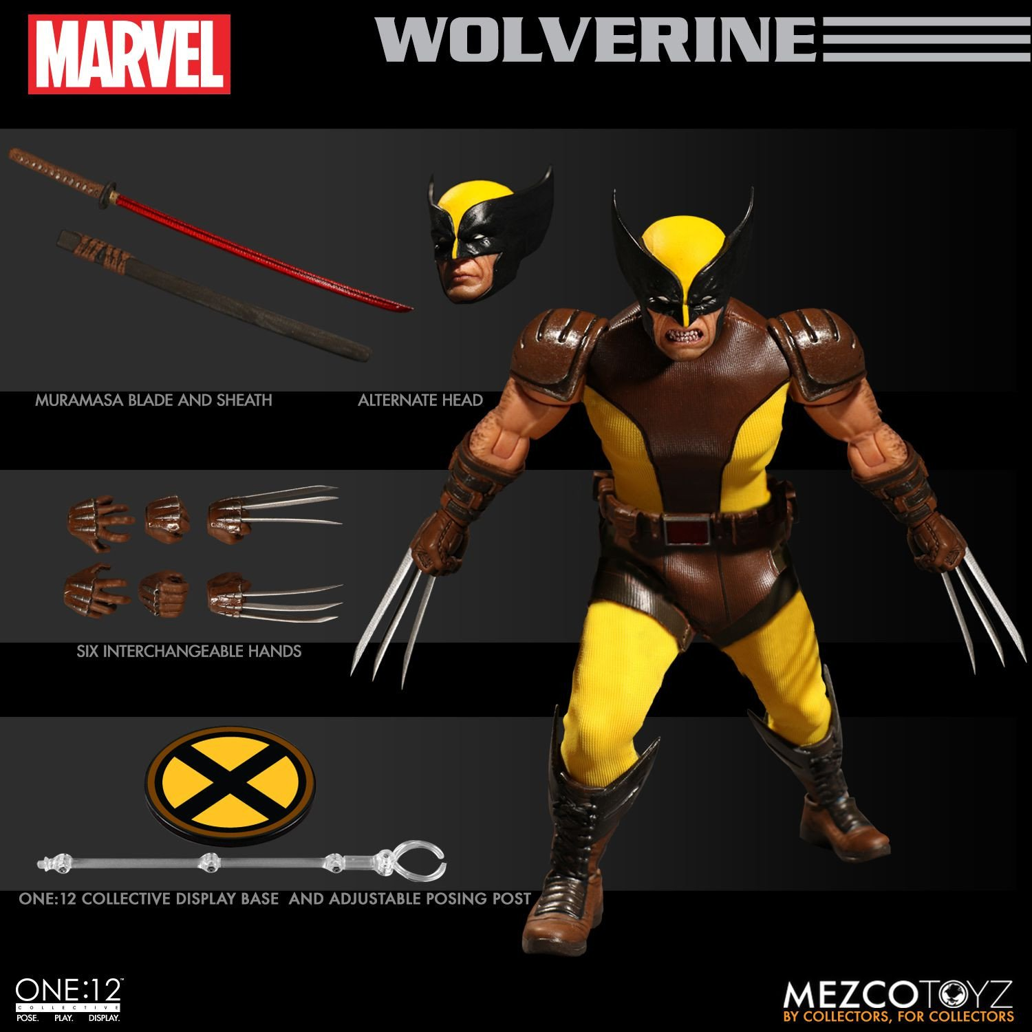 "Mezco Toyz BROWN WOLVERINE ONE:12 COLLECTIVE  6/"" INCH action figure X-MEN"