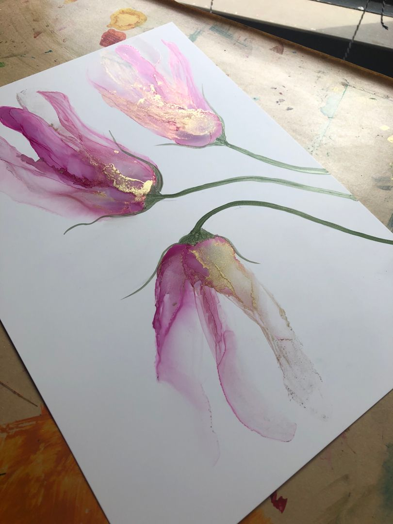 Pink floral painting in alcohol inks