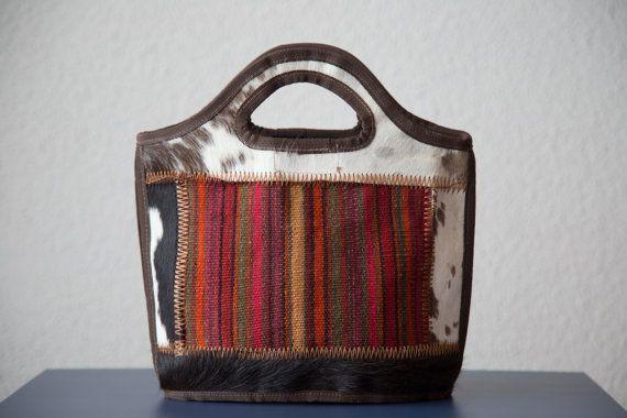 Handmade Brand New Persian Kilim and cowhide tote bag  $70