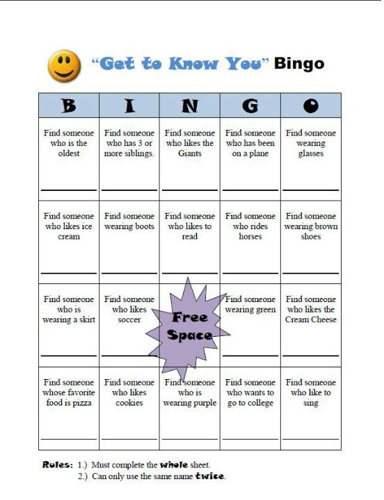 get to know you bingo card for mix it up day