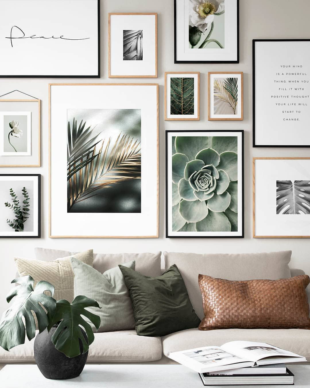 Lush Living Designs Peace Handwriting 50x70 Cm Palm 30x40 Cm White Pop Picture Wall Living Room Gallery Wall Living Room Living Room Pictures