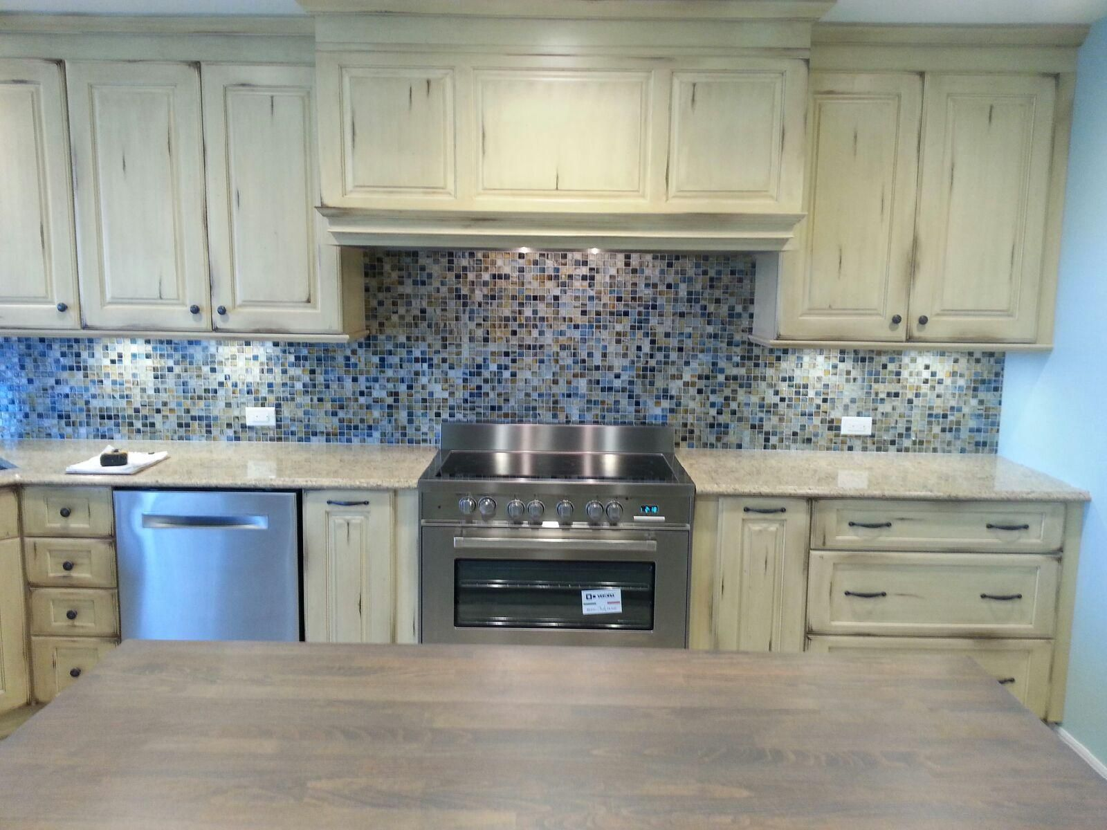 Completed #Kitchen With Old World #Cabinets