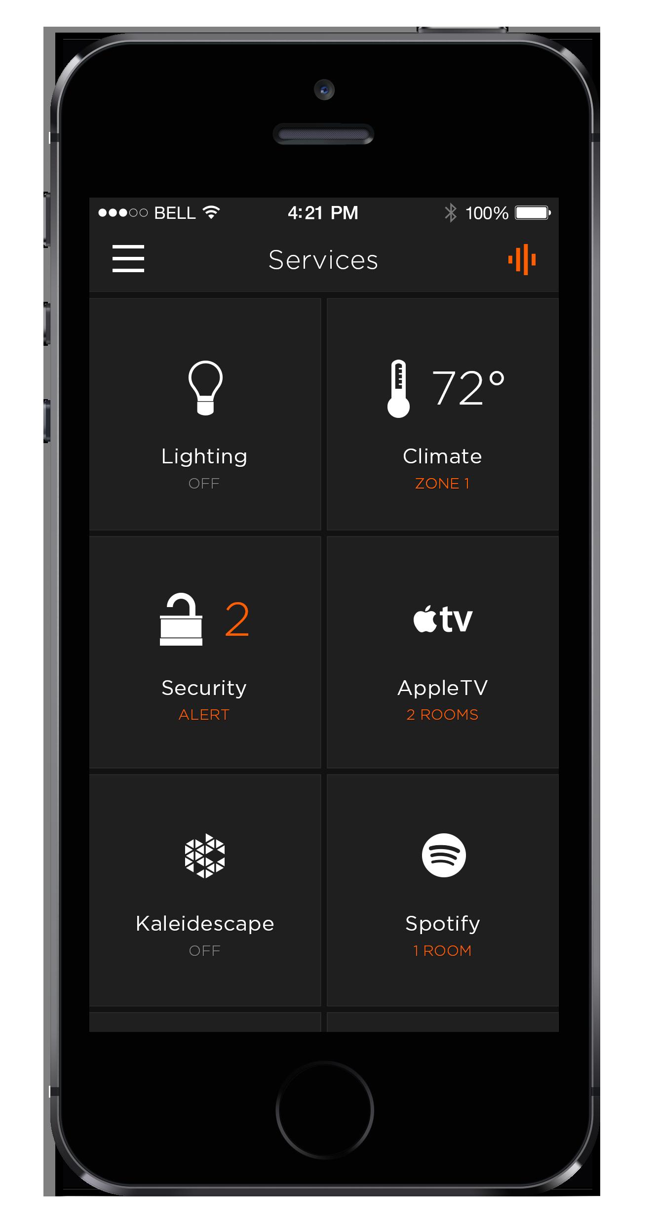 Savant Services Screen On IPhone