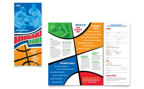Basketball Sports Camp Brochure Word Publisher Template Design