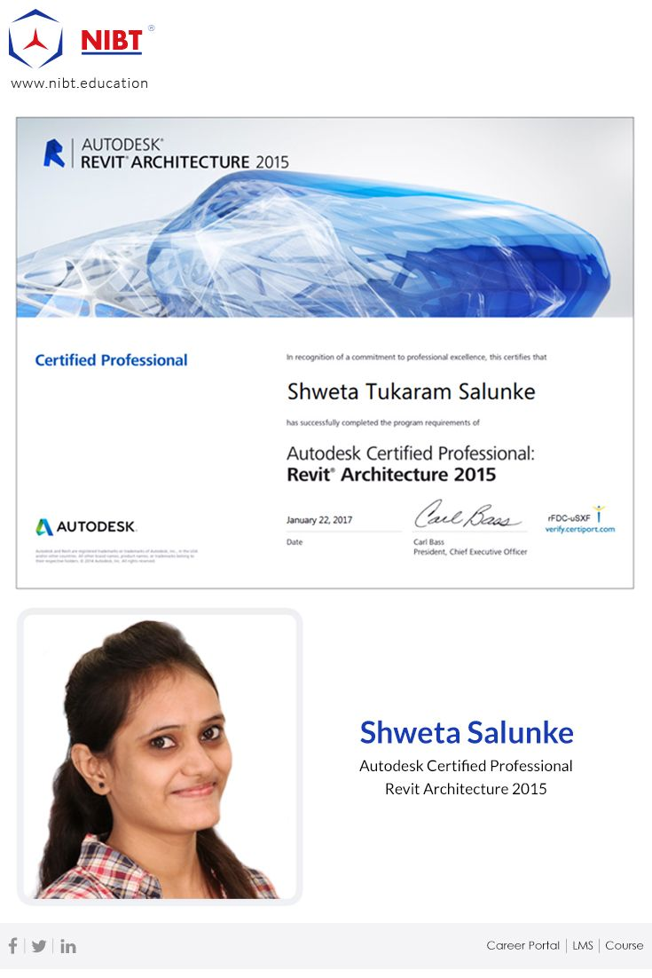 Heartiest congratulations we congratulate ms shweta salunke we congratulate ms shweta salunke for successful completion of autodesk revit certification in flying colors with a score of 97 1betcityfo Choice Image