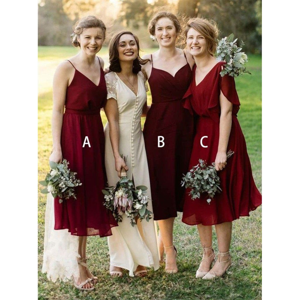 d8e3e6d35f7 A-Line V-Neck Elegant Simple Short Red Chiffon Cheap Bridesmaid dresses