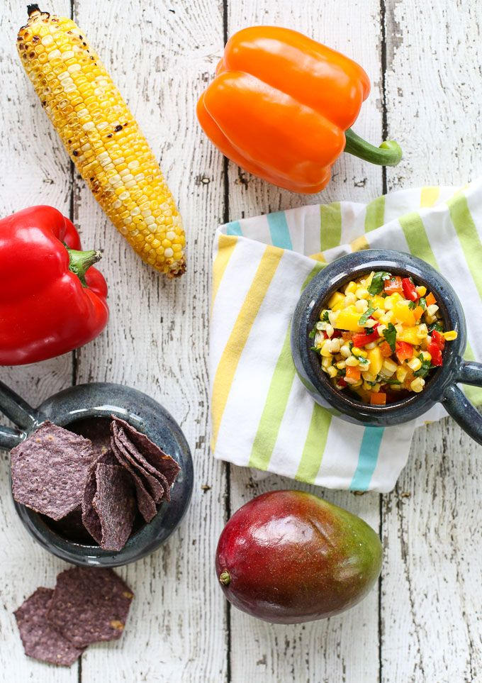 Grilled Corn salsa with mango, coconut, cilantro and pepper - the perfect salsa for spring!