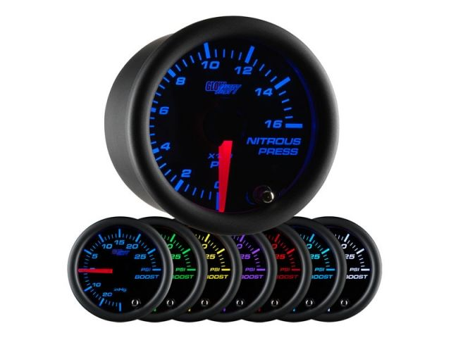GlowShift 52mm Black 7 Color HPOP High Pressure Oil Pressure Gauge GS-C721