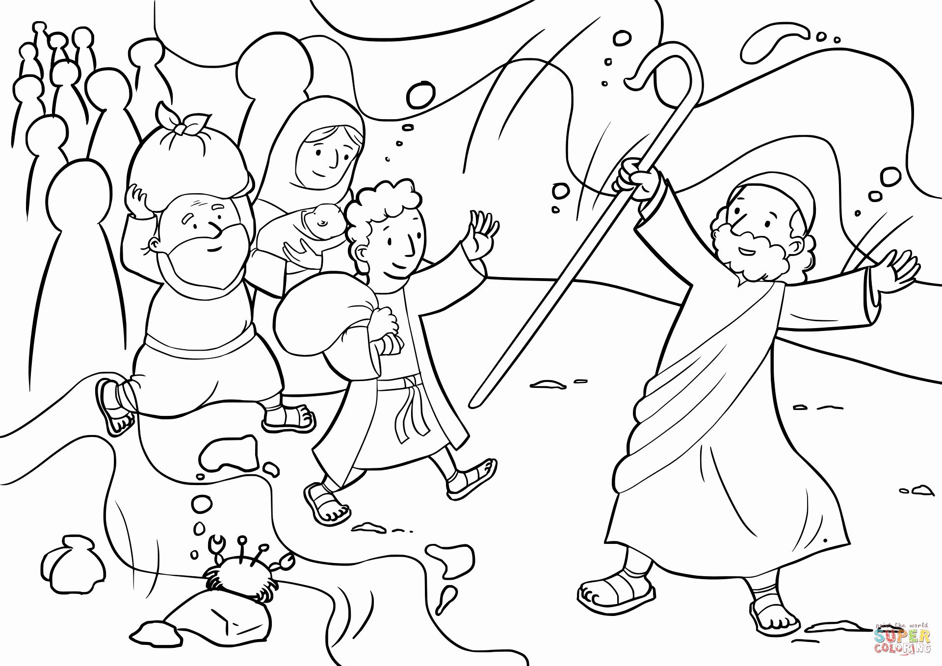 32 Moses Parting The Red Sea Coloring Page In 2020 Crossing The