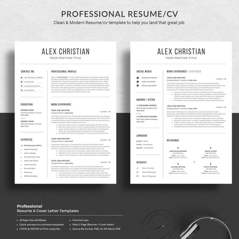 Modern Resume Template Professional Resume Template Resume