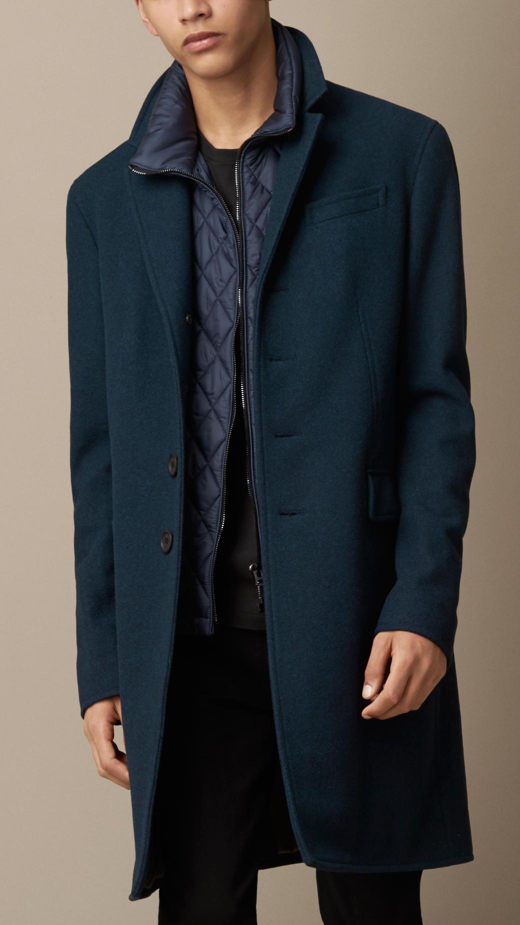 c762218c009518 Manteau en cachemire et laine Melton avec gilet intérieur   Burberry