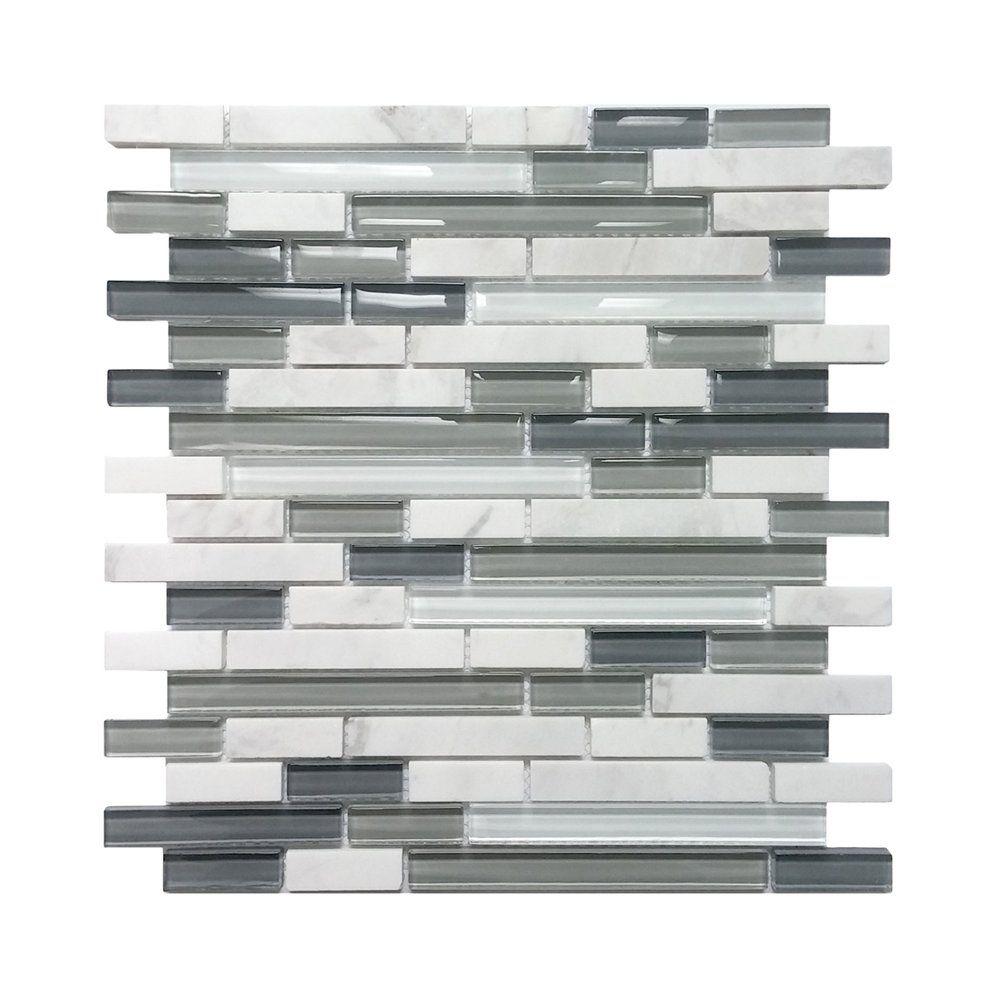 Avenzo 58in Arctic Strip White Gray StoneGlass Wall Tile