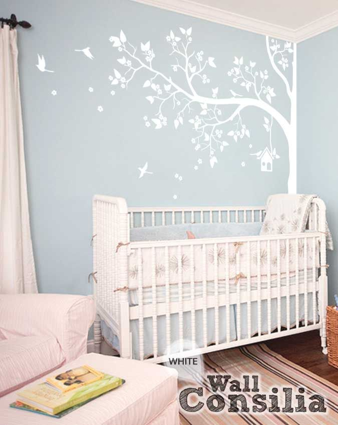 White Tree Wall Decal With Leaves And Birds Murals Walls - Wall decals nursery girl