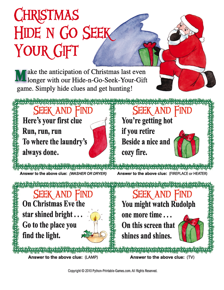 Christmas Scavenger Hunt.Christmas Scavenger Hunt Hide And Go Seek Your Gift Copy