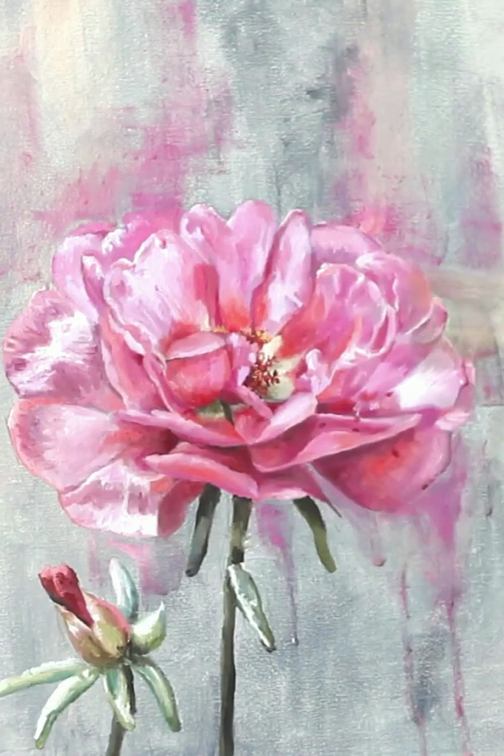 process of floral painting