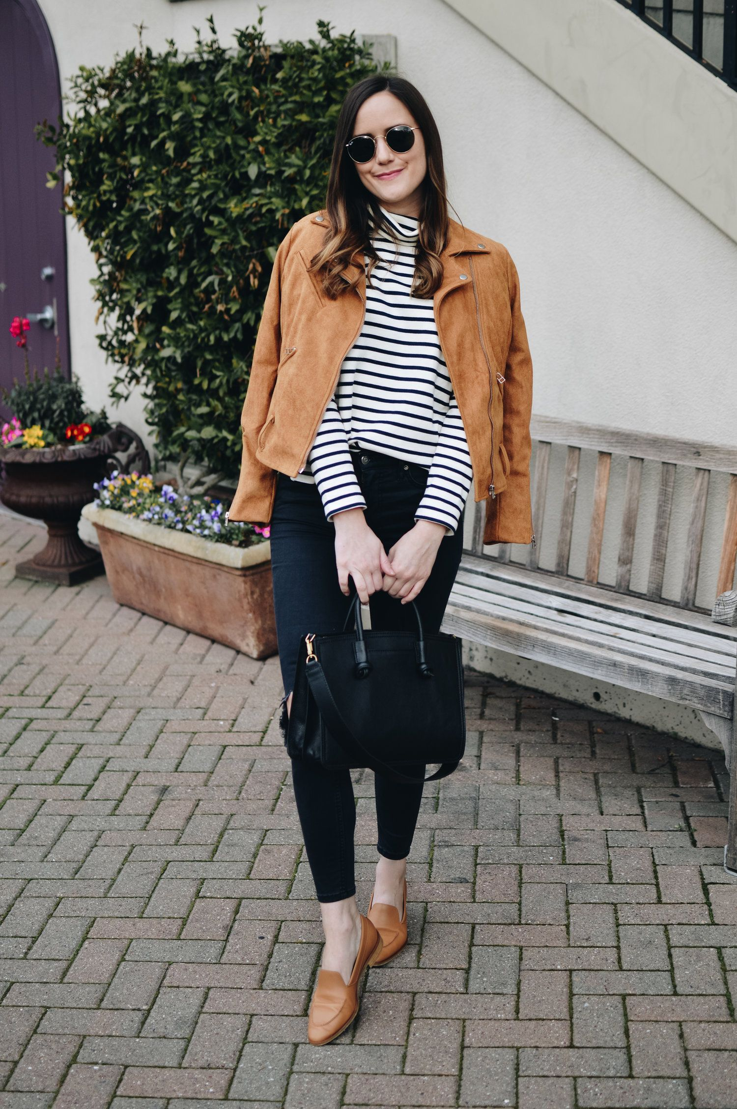 009c194b01f2 Striped Turtleneck and Camel Loafers