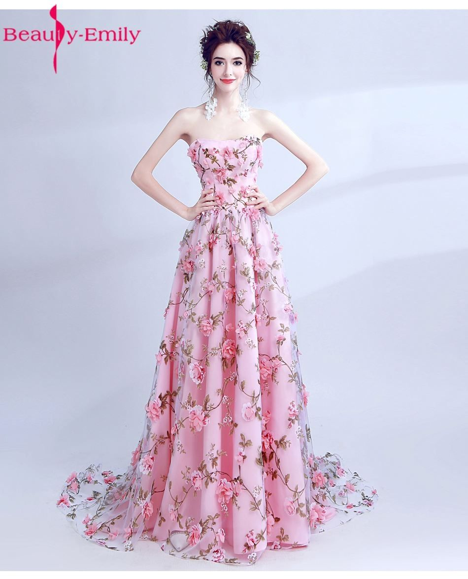 Beauty Emily Pink Sexy Chiffon Long Flower Evening Dresses 2017 Plus ...