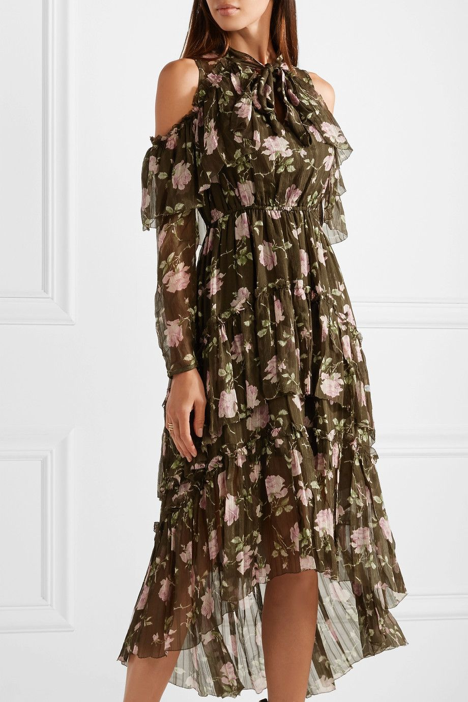 100% Original Cheap Online Marion Cold-shoulder Floral-print Crinkled Silk-chiffon Dress - Army green Ulla Johnson Outlet Exclusive 4U6Pq7