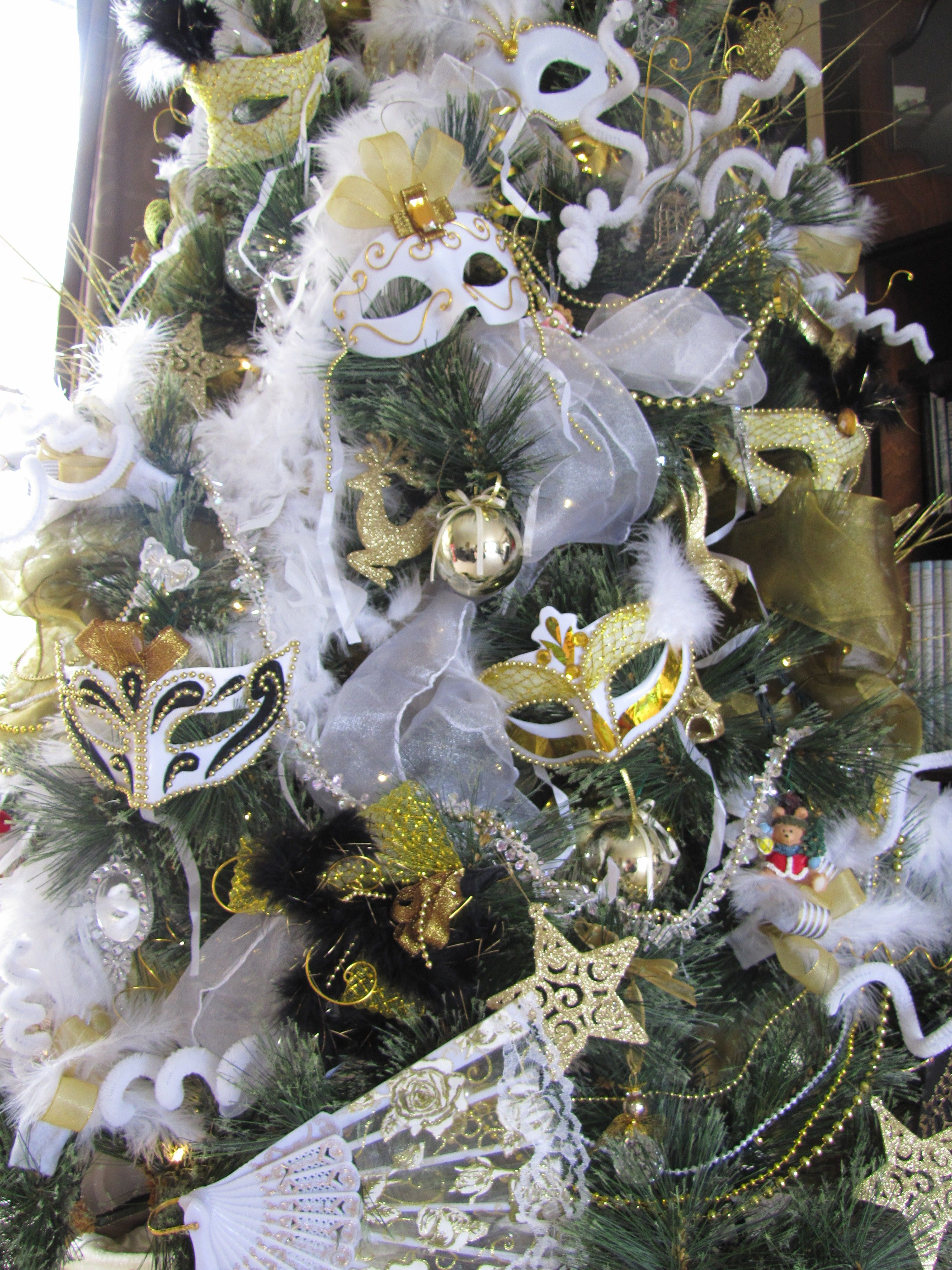 Masquerade Christmas Tree Photo Closeup Christmas Masquerade Party Ribbon On Christmas Tree Christmas Tree Themes