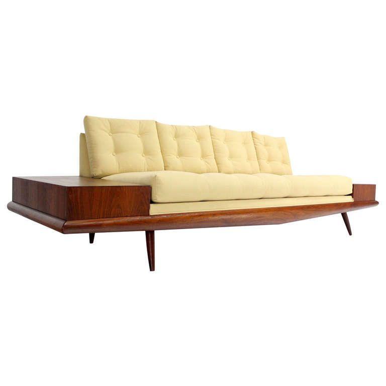 Adrian Pearsall Mid Century Modern Walnut Sofa End Tables New Upholstery | 1stdibs.com