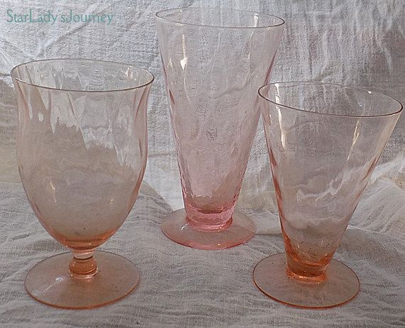Set of Three Pink Jeannette Hex Optic Depression Glass Goblets