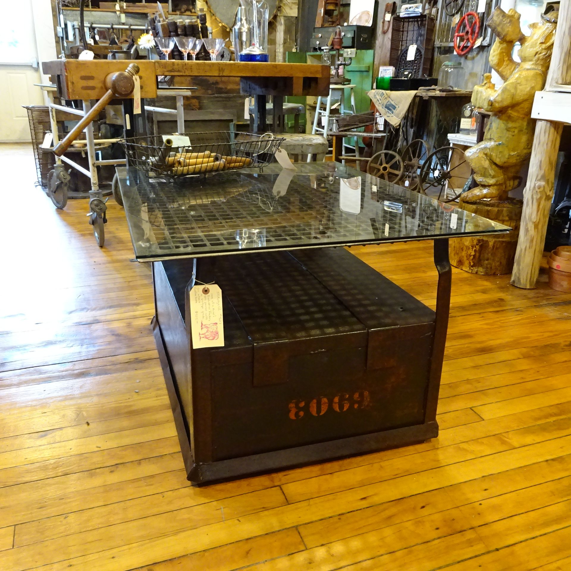Factory industrial cart on wheels, top is a large grate with glass. One of a kind created by Shethar57
