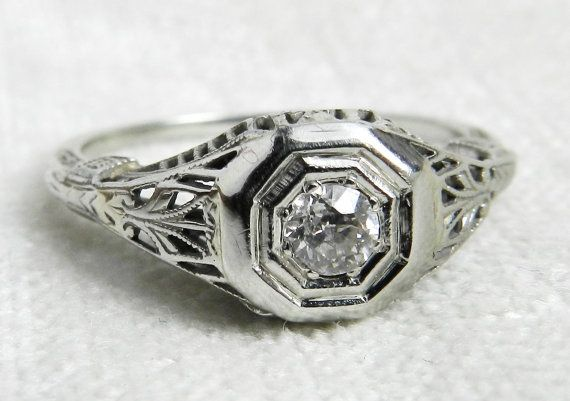 Vintage Engagement Ring Antique Edwardian Style by DiamondSoulShop