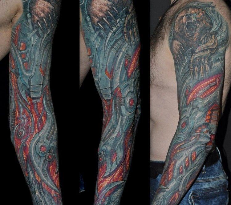 Biomechanik Tattoo Ganzer Arm 2d Optik Mechanismus Tattoos