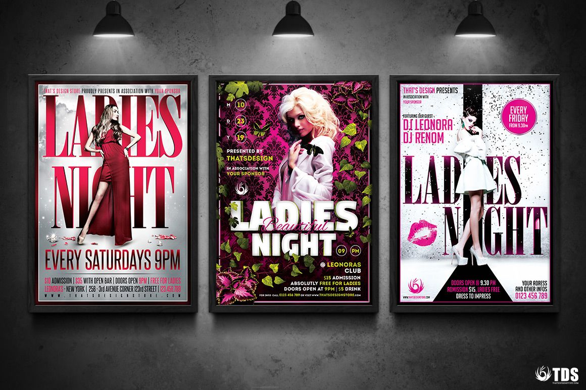 Ladies Night Flyer Bundle V  Flyer Template Club Flyers And