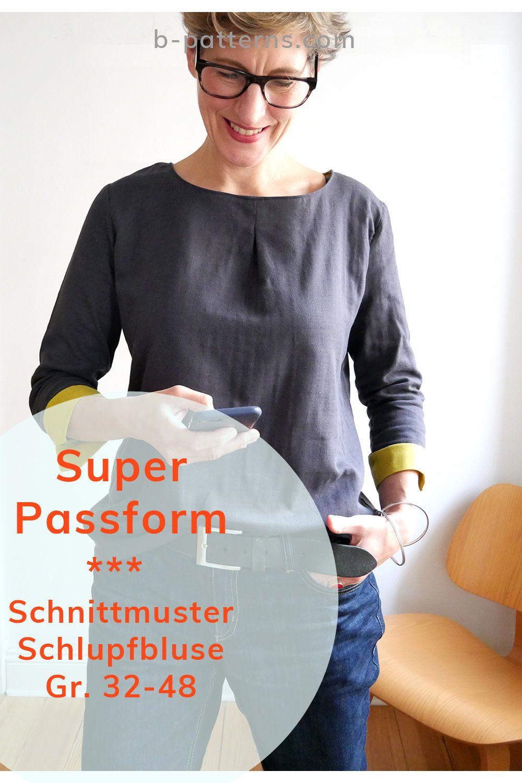 Blusenshirt Kim_B Gr. 32-48 PDF-Schnittmuster + Nähanleitung