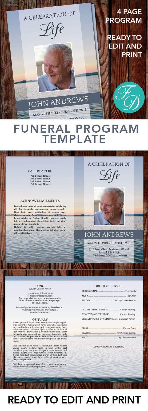 printable funeral program template celebration of life obituary