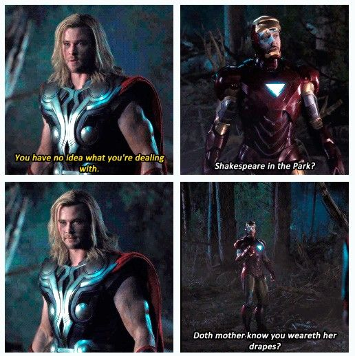 Lmao My Favorite Line In The Movie Doth Mother Know You Weareth Her Drapes Marvel Films Avengers Marvel Movies